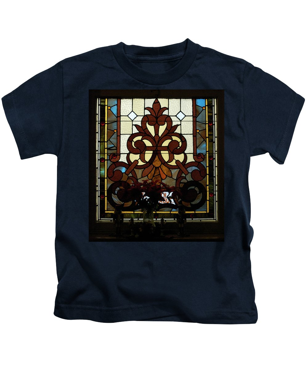 Glass Art Kids T-Shirt featuring the photograph Stained Glass Lc 16 by Thomas Woolworth