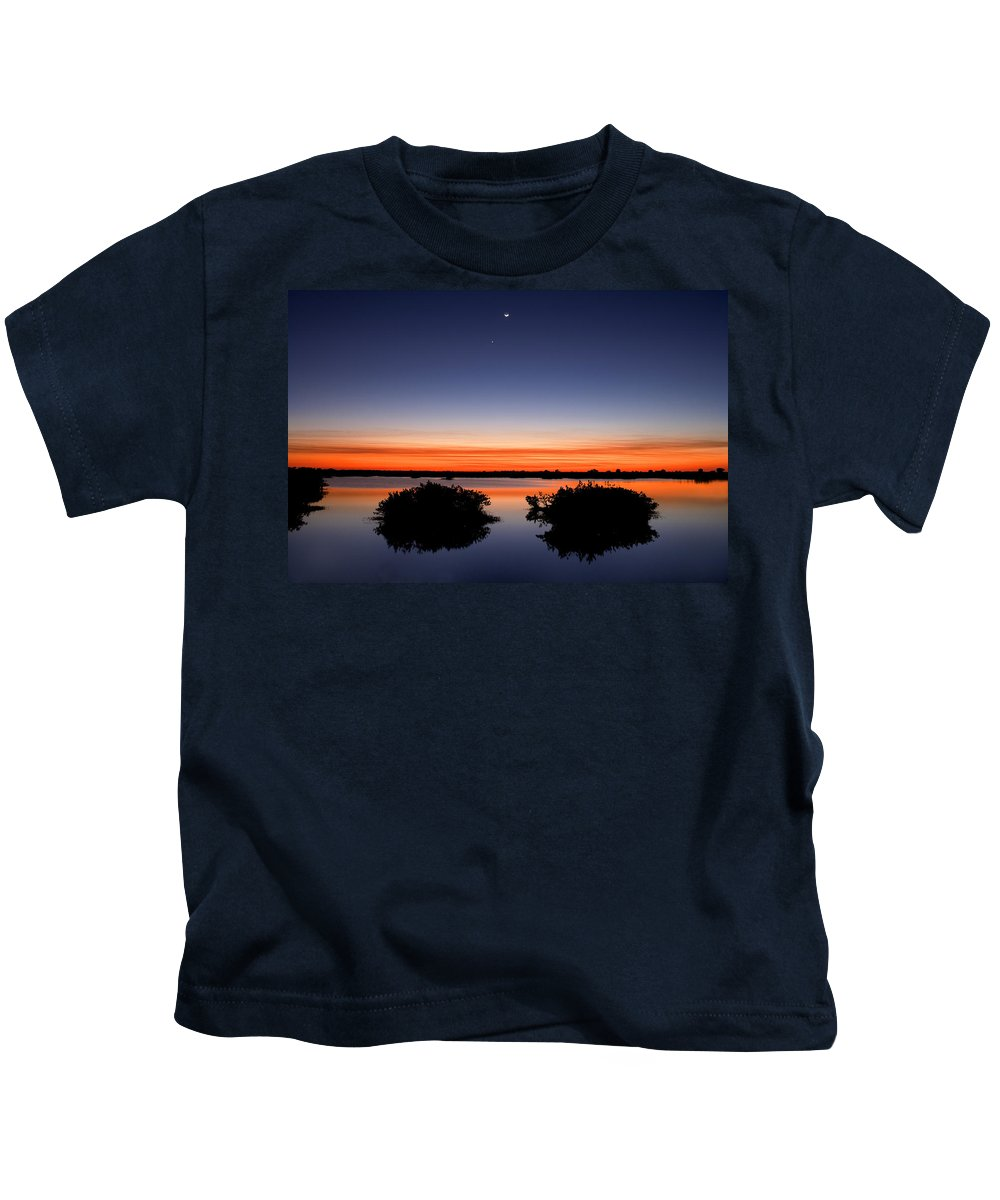 Sunset Kids T-Shirt featuring the photograph Sunset Moon Venus by Rich Franco