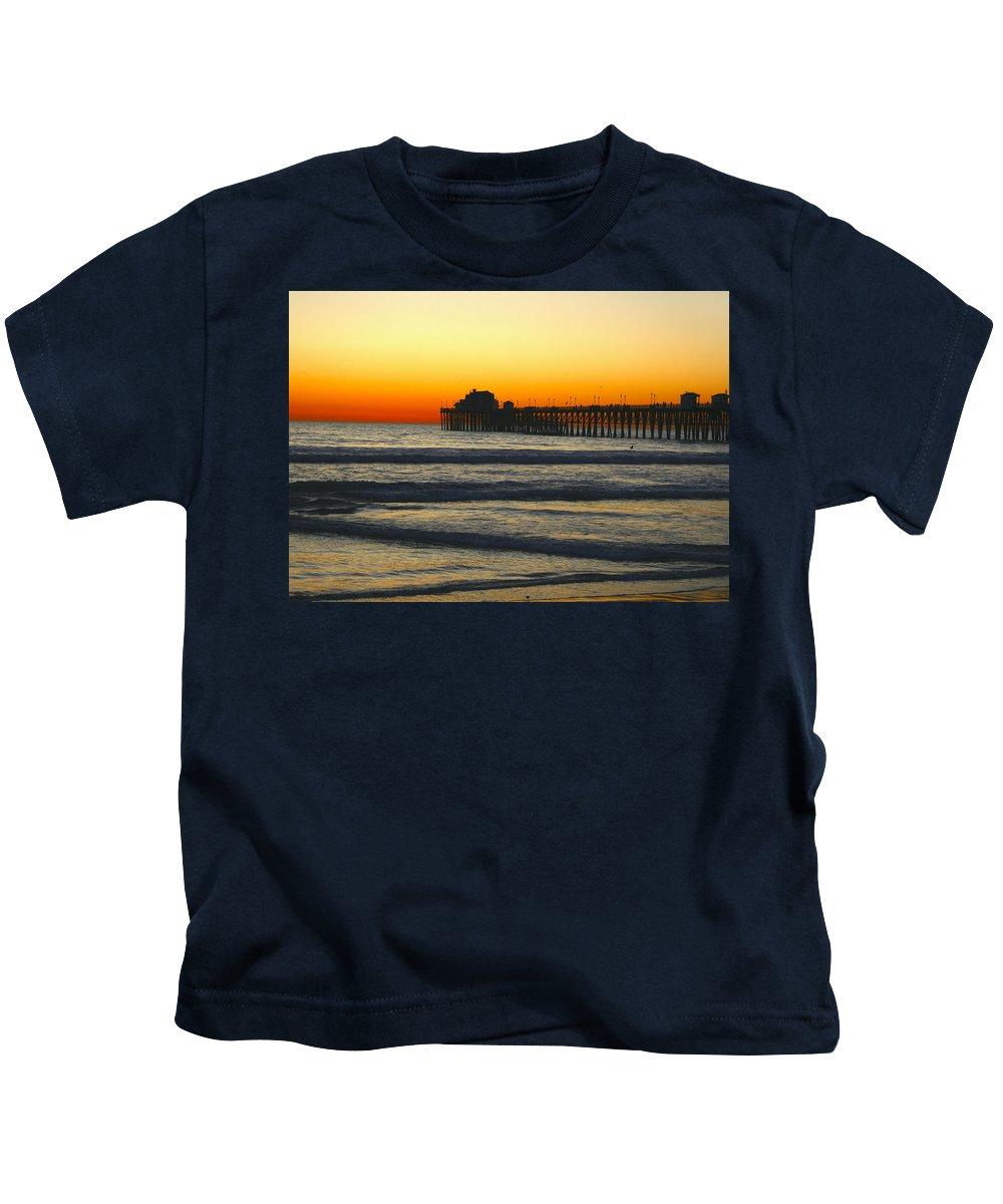 Sunset Kids T-Shirt featuring the photograph Sunset On Oceanside Beach by Sally Bauer