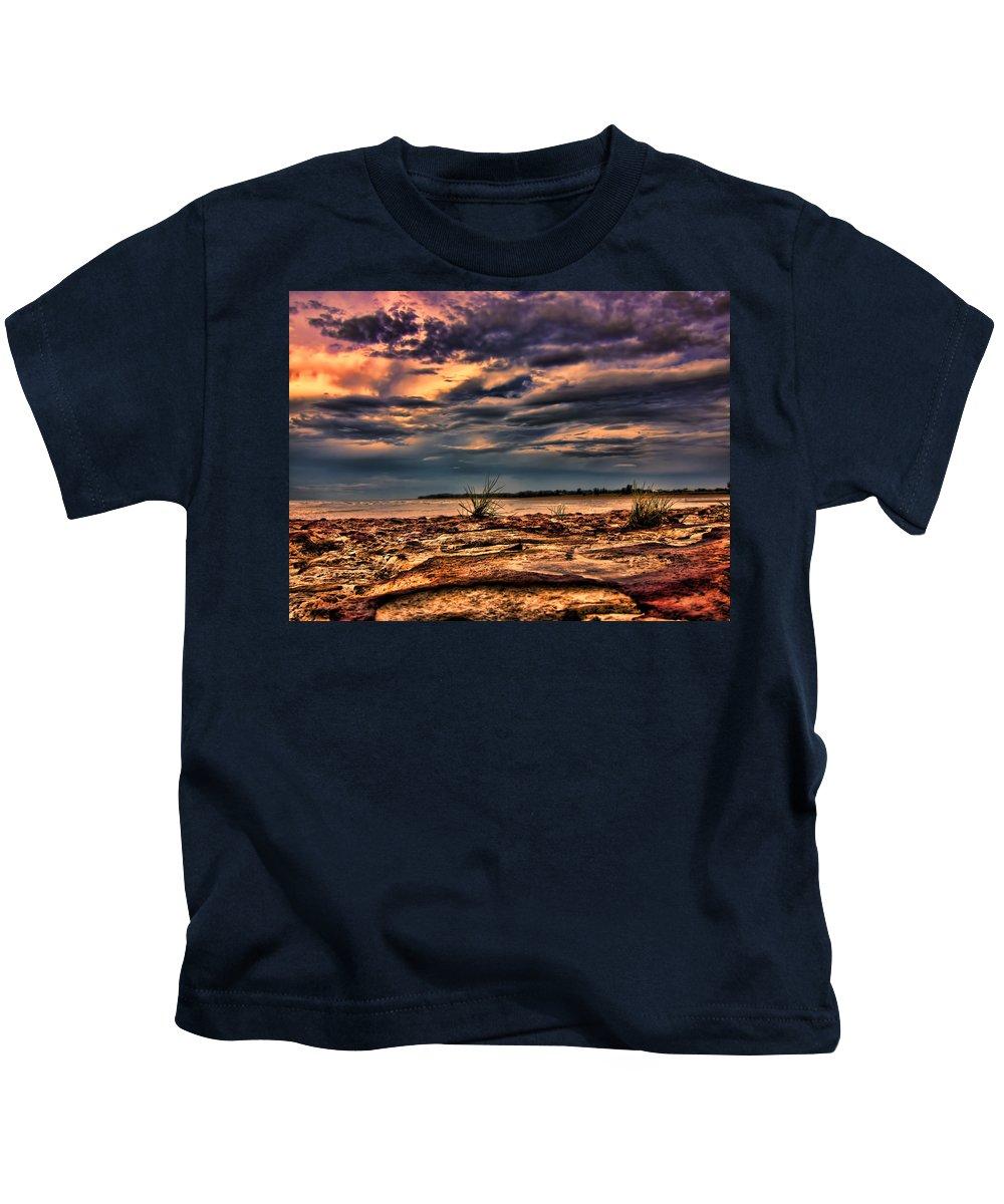 Rocks Kids T-Shirt featuring the photograph Sunset Rocks by Douglas Barnard