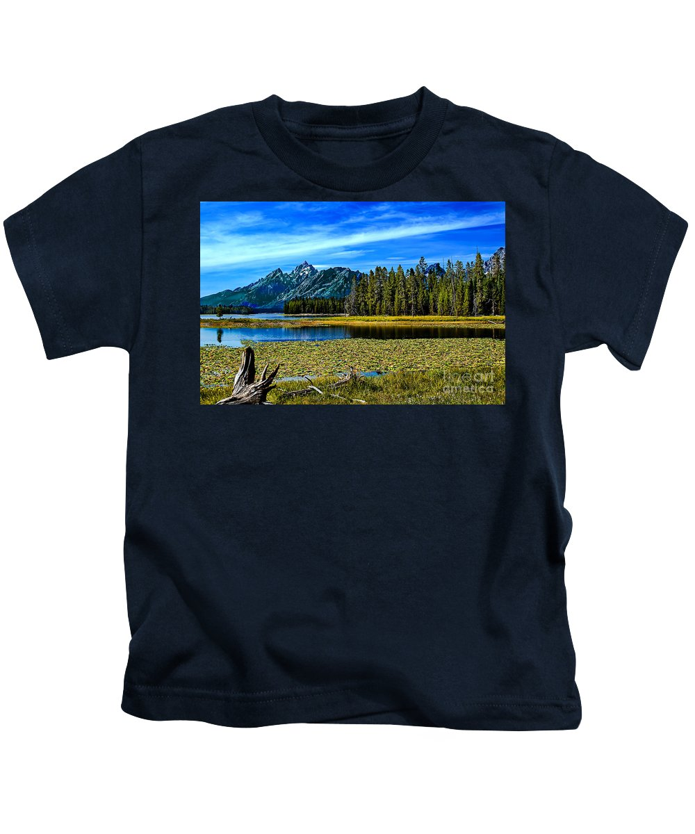 Grand Tetons Kids T-Shirt featuring the photograph Swan Lake II by Robert Bales