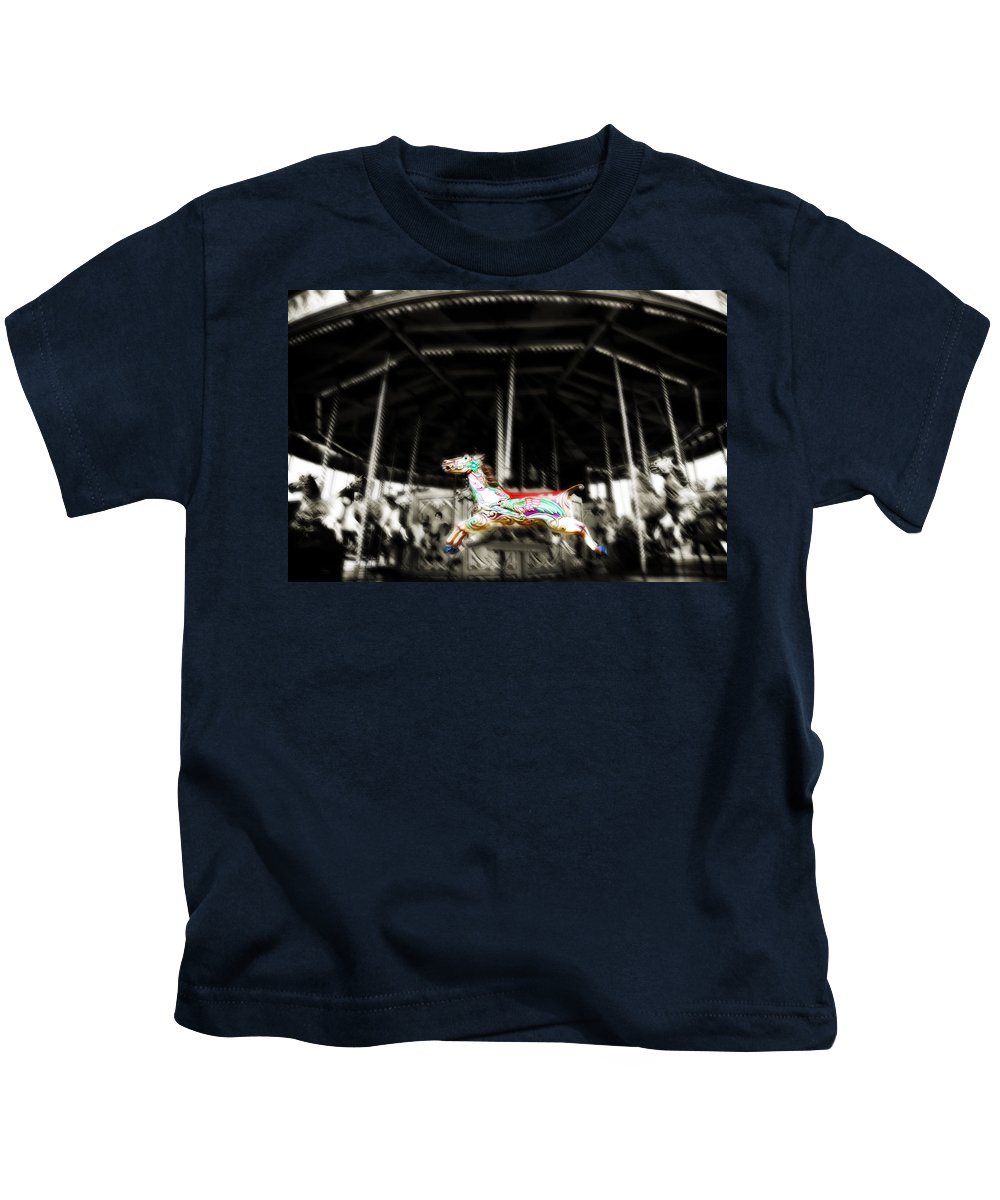 Horse Kids T-Shirt featuring the photograph The Carousel Horse by Beth Riser