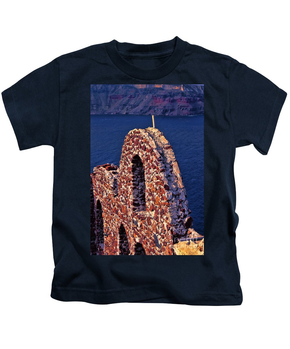 Europe Photo Kids T-Shirt featuring the photograph The Last Wall Standing Santorini Greece by Tom Prendergast