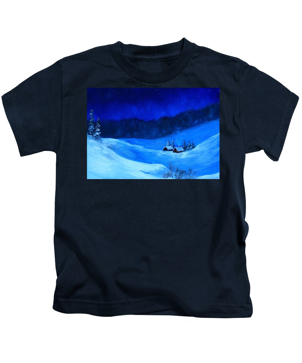 Snow Kids T-Shirt featuring the painting The Valley by Joi Electa