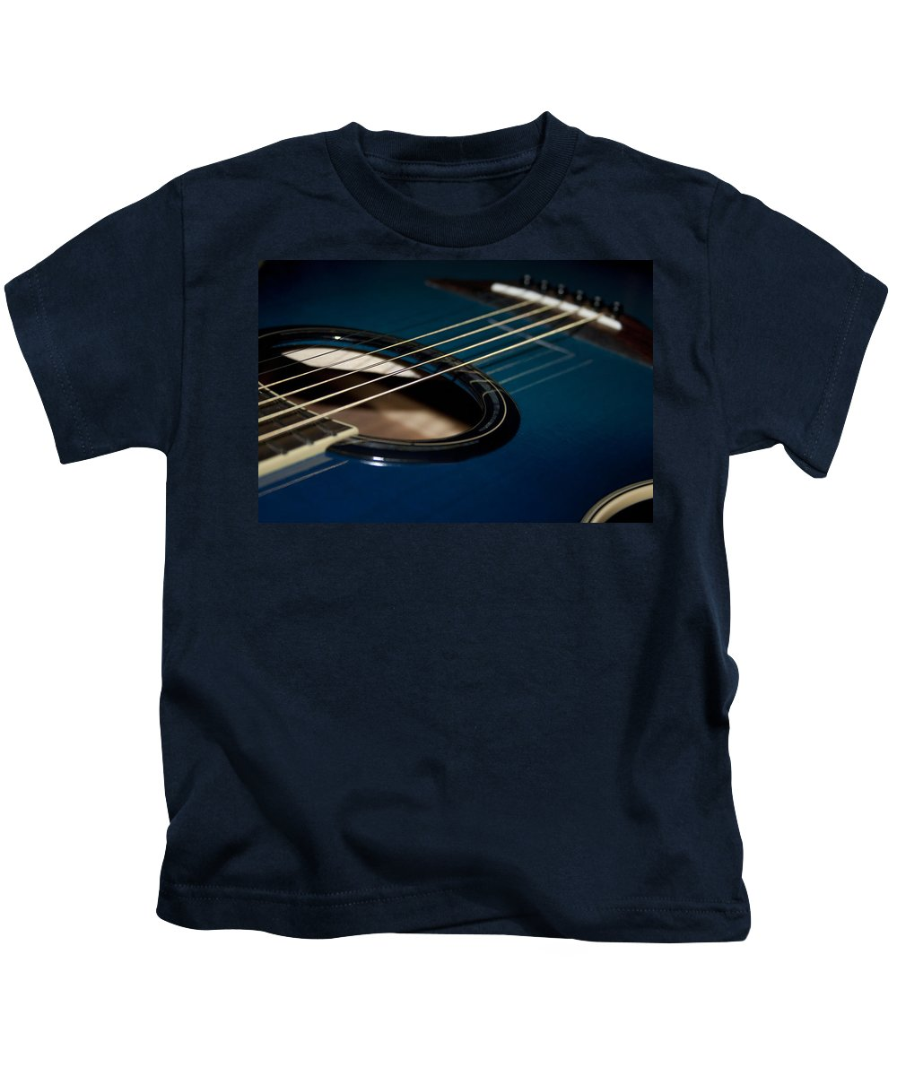 Acoustic Kids T-Shirt featuring the photograph True Blue Acoustic Guitar by Kathy Clark