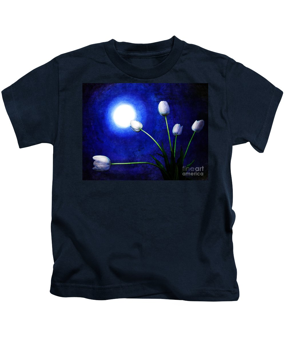 Night Kids T-Shirt featuring the digital art Tulips In Blue Moonlight by Laura Iverson