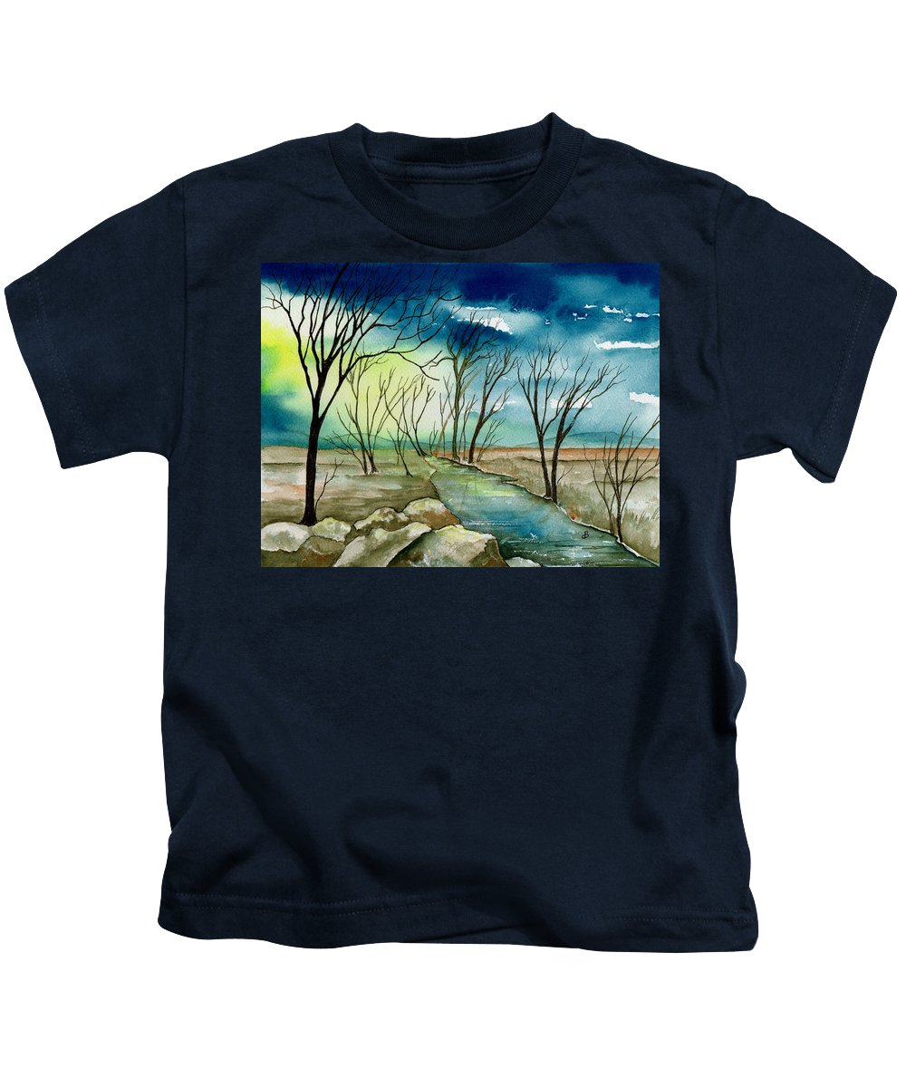 Watercolor Kids T-Shirt featuring the painting Turbulent Sky by Brenda Owen