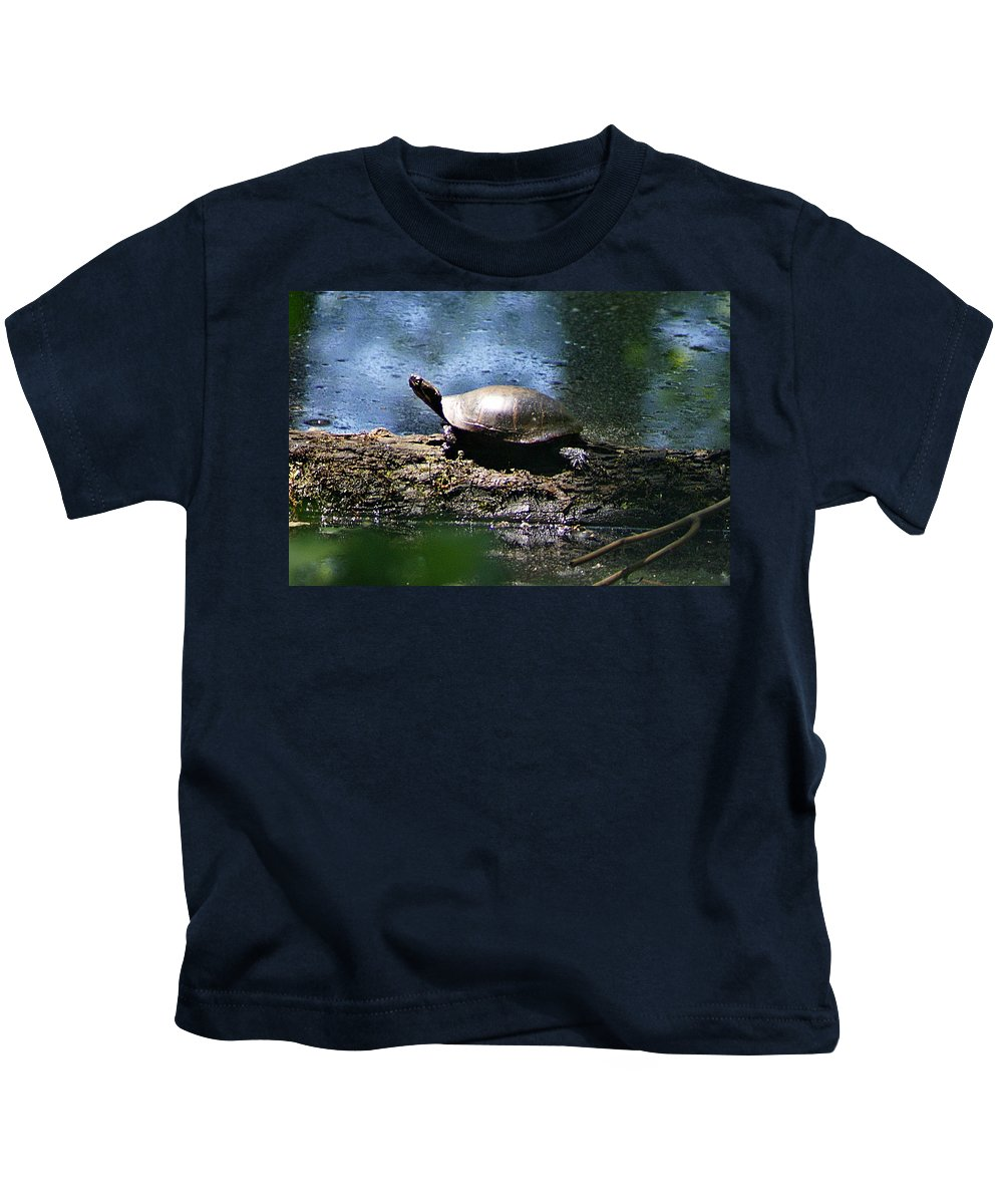 Horn Pond Kids T-Shirt featuring the photograph Turtle I by Joe Faherty