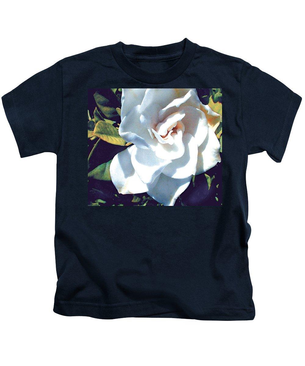 Gardenias Kids T-Shirt featuring the painting White Gardenia by Elaine Plesser