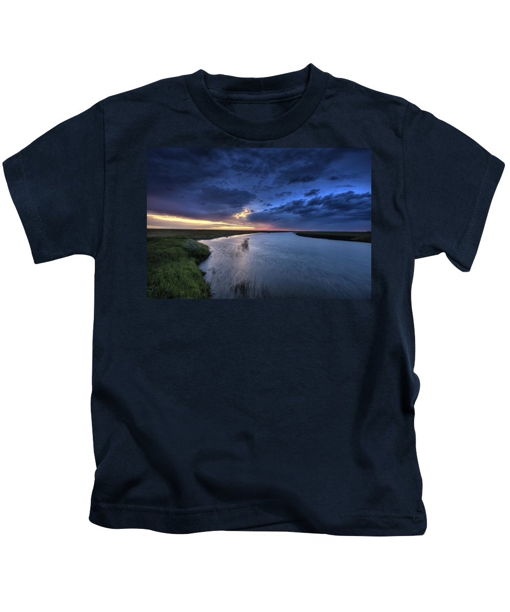 Cloud Kids T-Shirt featuring the digital art Wood River Saskatchewan Canada by Mark Duffy