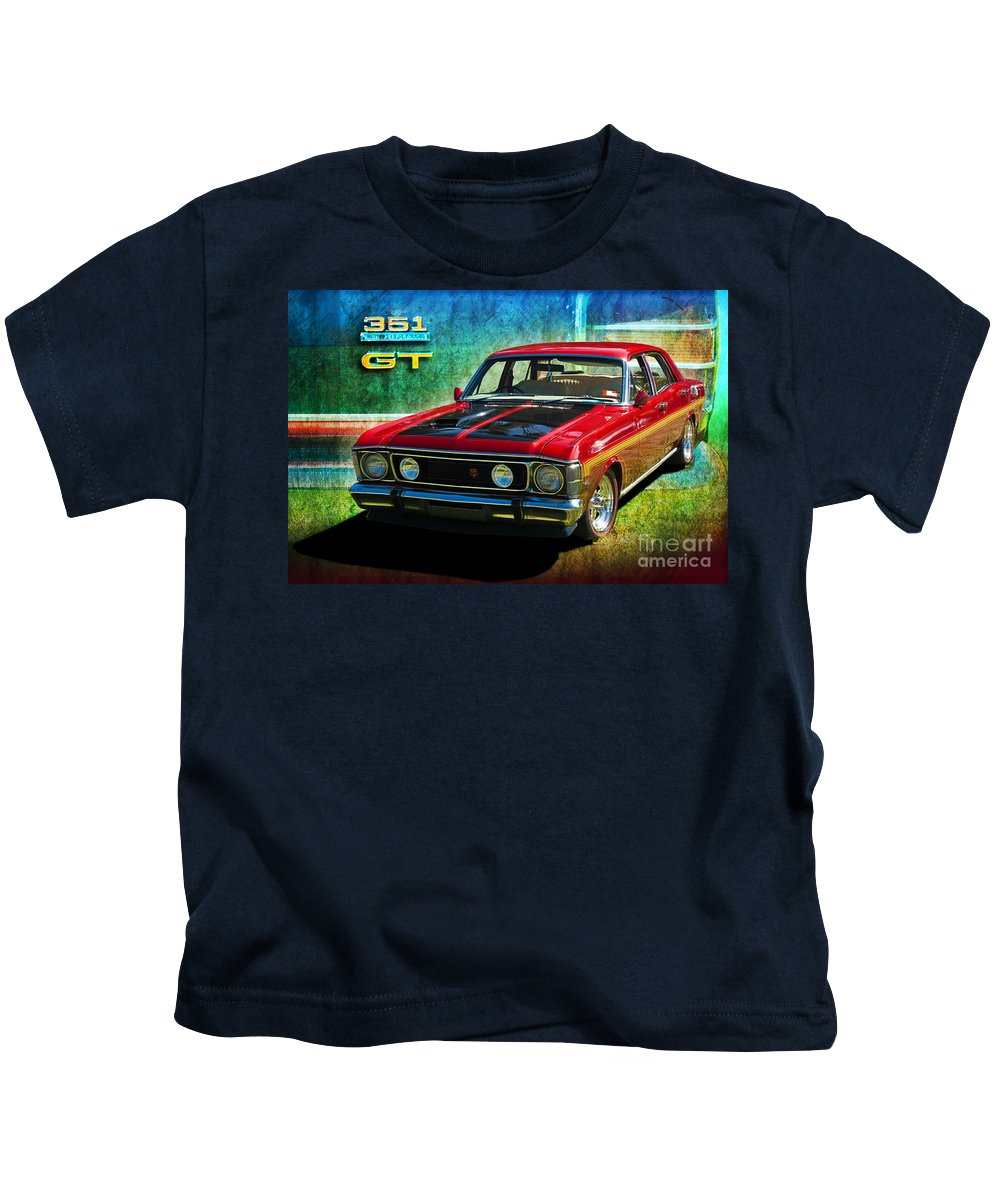 Ford Kids T-Shirt featuring the photograph Xw Falcon 351gt by Stuart Row
