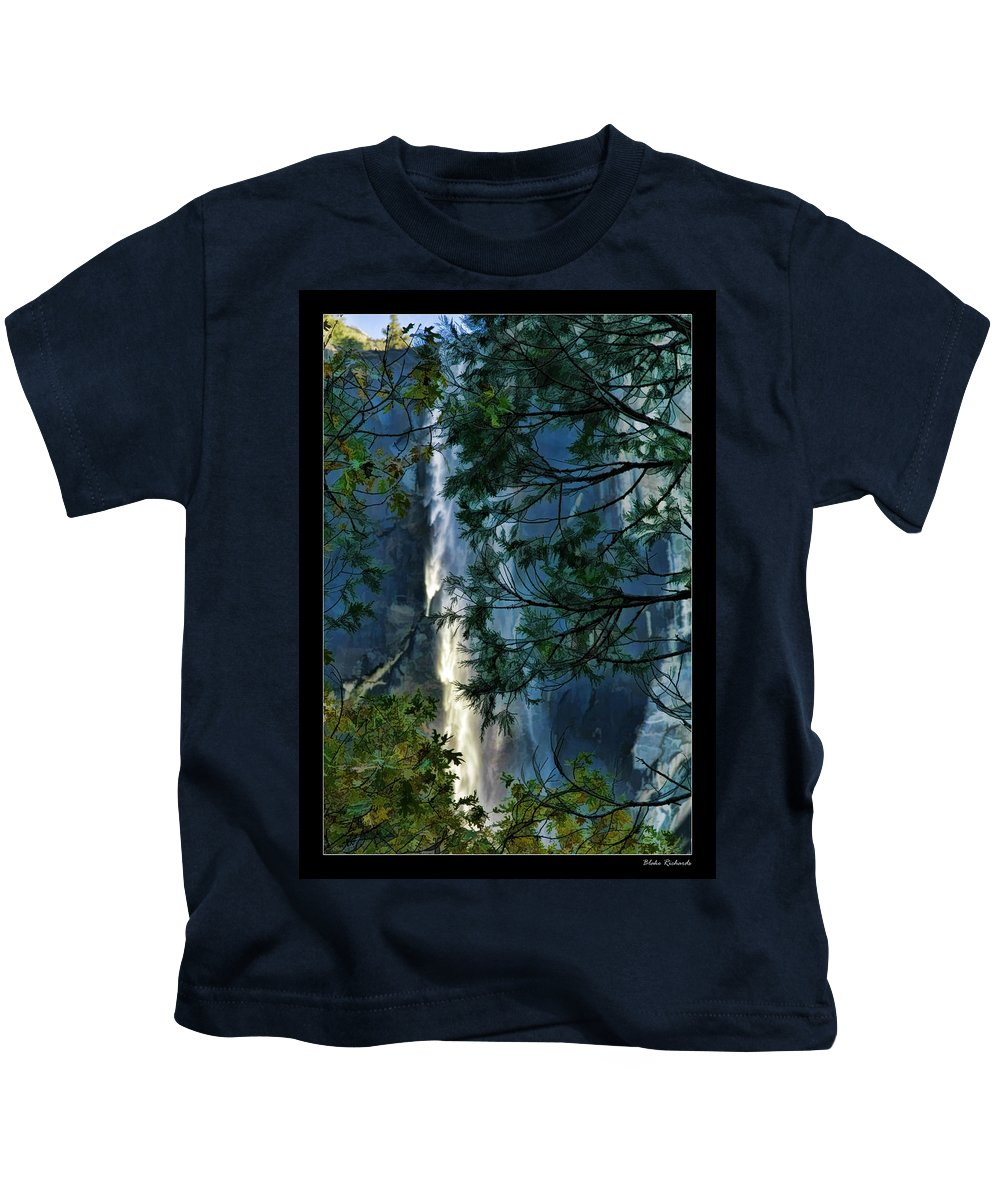 Art Photography Kids T-Shirt featuring the photograph Yosemite Falls Through Trees by Blake Richards