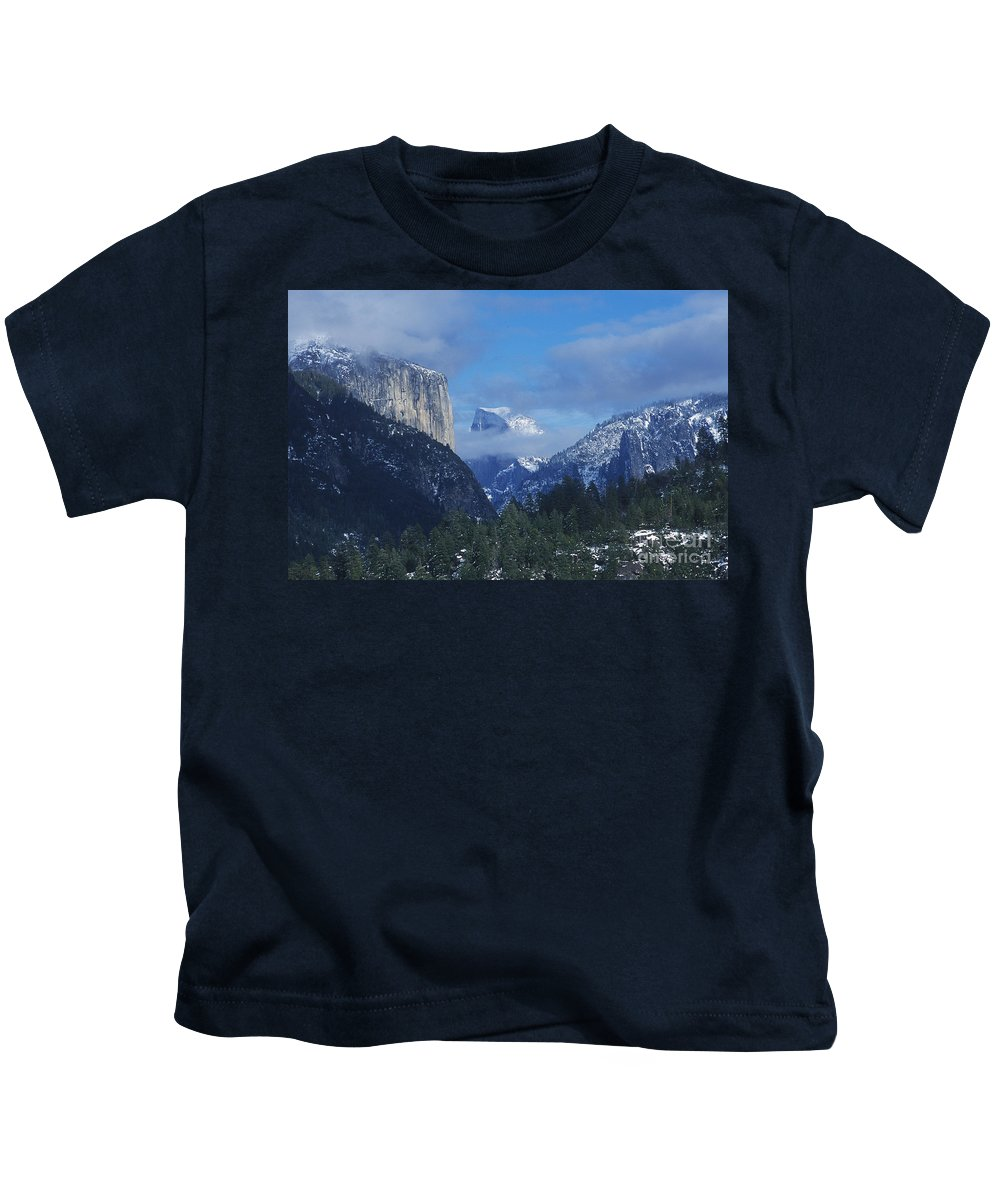 Yosemite Kids T-Shirt featuring the photograph Yosemite View In Snow by Jim And Emily Bush