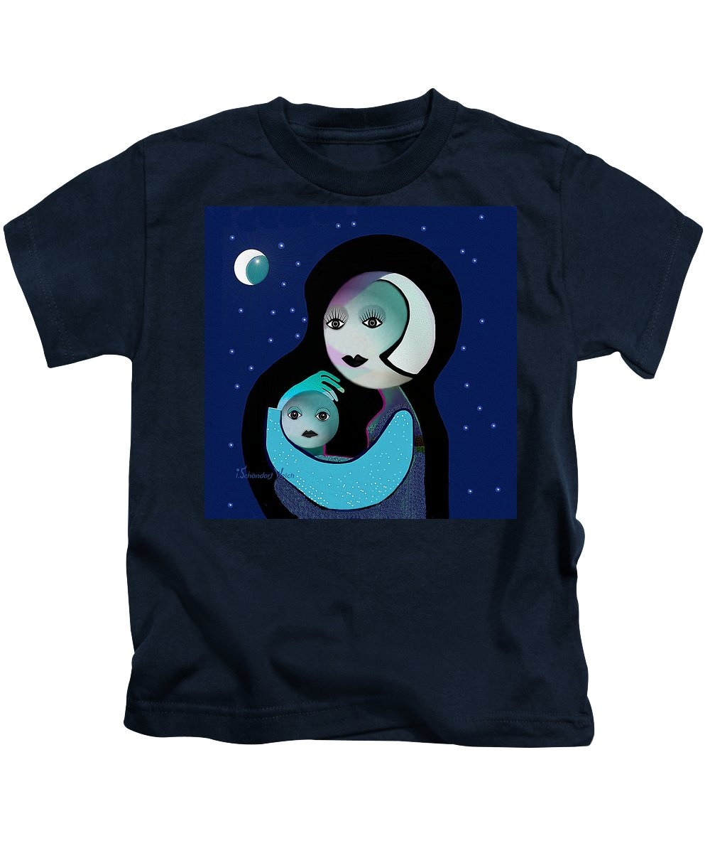 Gimp Kids T-Shirt featuring the painting 042 - Moon Mother Child ... by Irmgard Schoendorf Welch