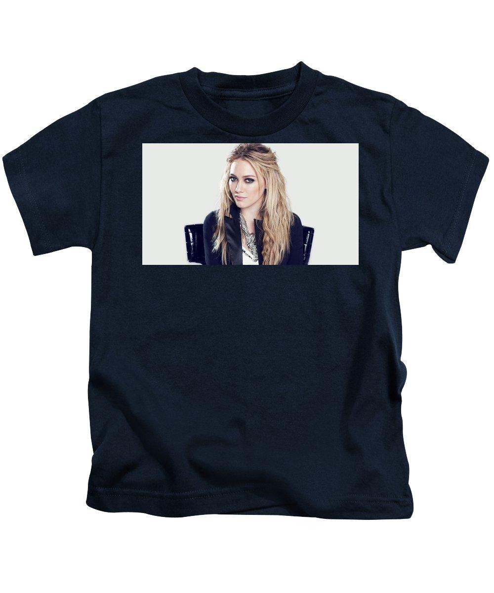 1 Blonde Jacket Sitting Simple Background Hazel Eyes Hilary Duff Women Kids T-Shirt featuring the digital art 83110 Blonde Jacket Sitting Simple Background Hazel Eyes Hilary Duff Women by Anne Pool