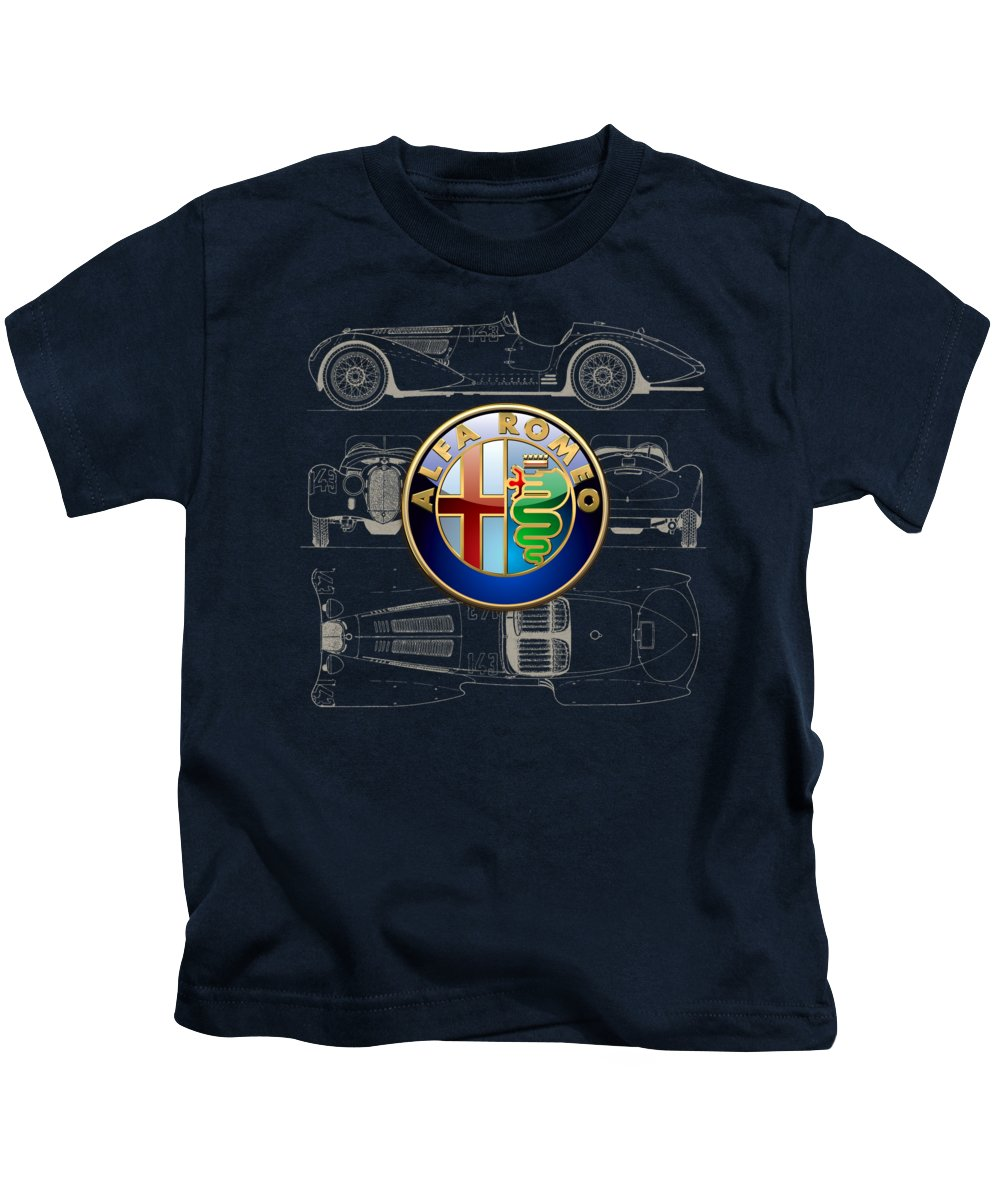 �wheels Of Fortune� By Serge Averbukh Kids T-Shirt featuring the photograph Alfa Romeo 3 D Badge over 1938 Alfa Romeo 8 C 2900 B Vintage Blueprint by Serge Averbukh
