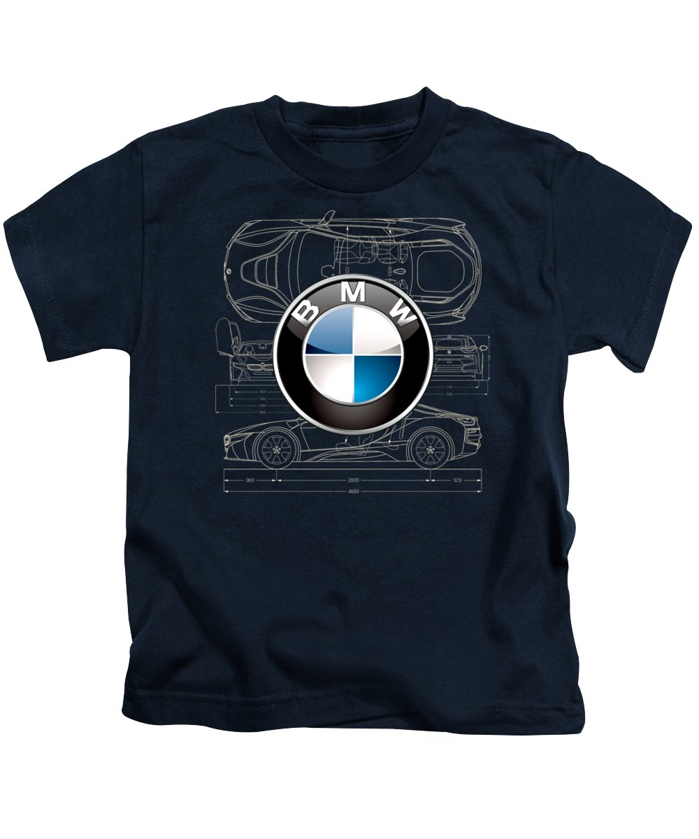 �wheels Of Fortune� By Serge Averbukh Kids T-Shirt featuring the photograph B M W 3 D Badge over B M W i8 Blueprint by Serge Averbukh
