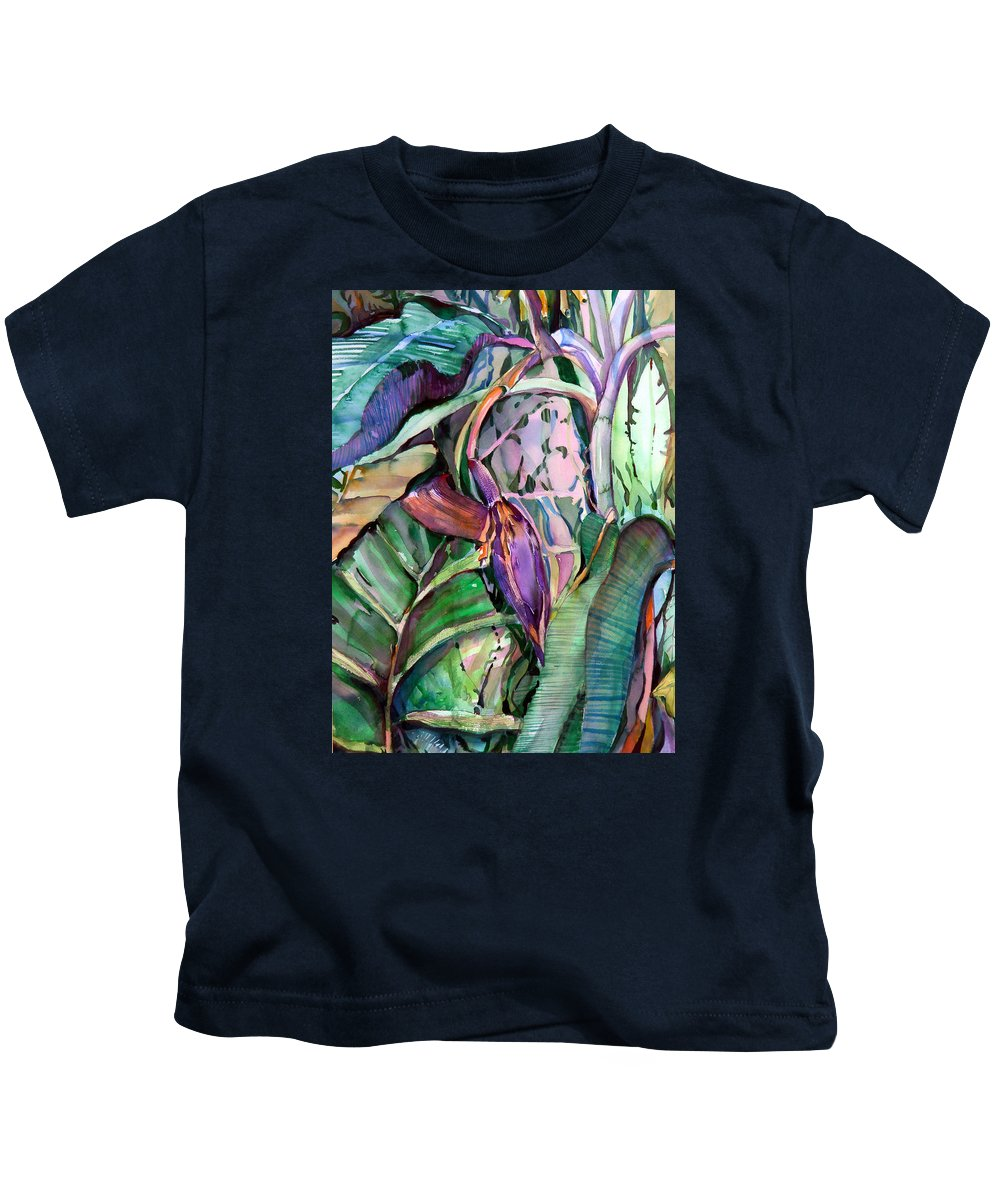 Banana Kids T-Shirt featuring the painting Banana Pod by Mindy Newman