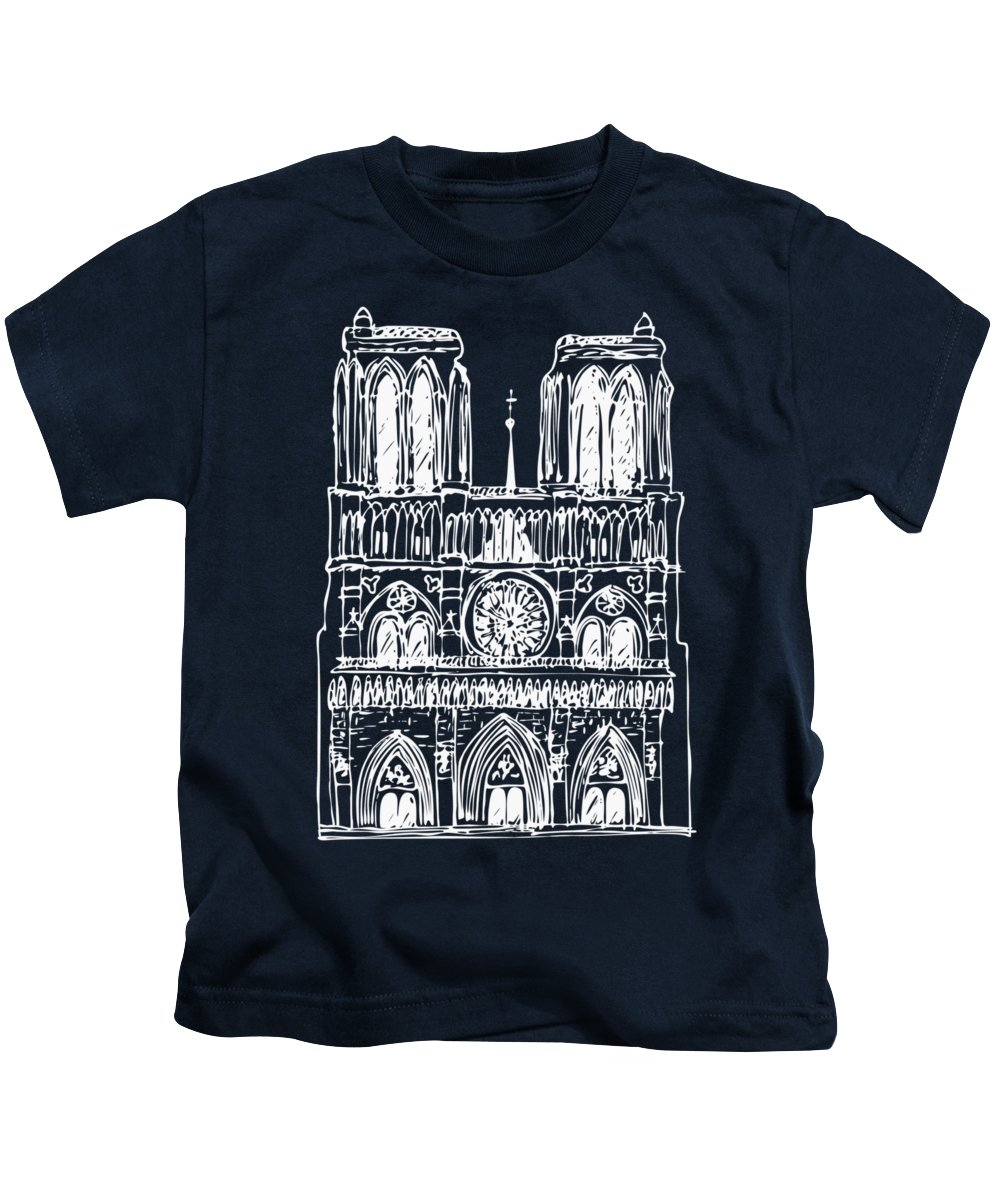 Notre Dame Kids T-Shirt featuring the drawing Basilica Notre Dame by Michal Boubin