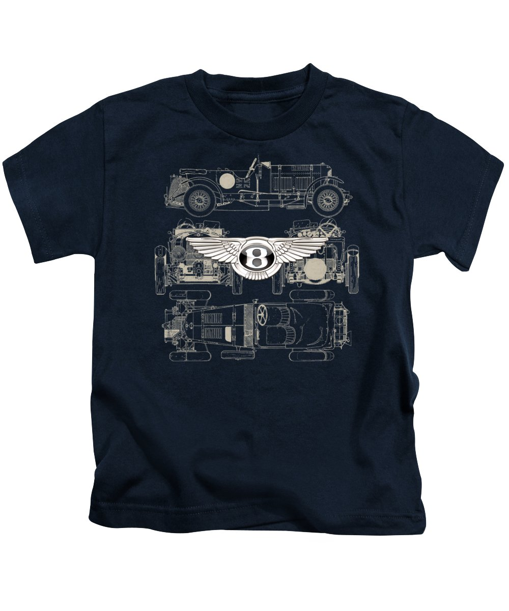 �wheels Of Fortune� By Serge Averbukh Kids T-Shirt featuring the photograph Bentley - 3 D Badge over 1930 Bentley 4.5 Liter Blower Vintage Blueprint by Serge Averbukh