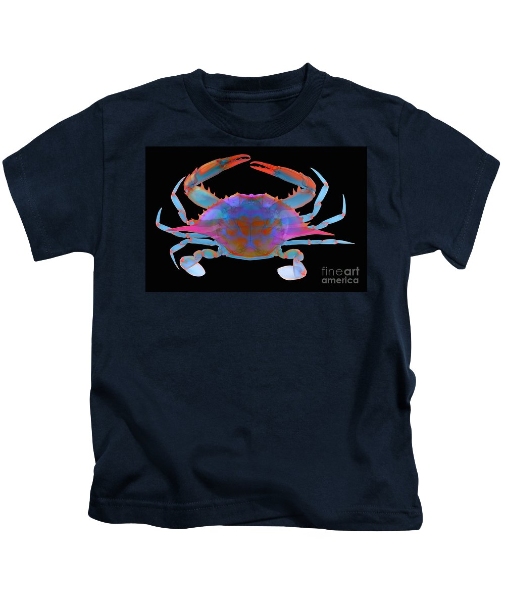 Xray Kids T-Shirt featuring the photograph Blue Crab, X-ray by Ted Kinsman