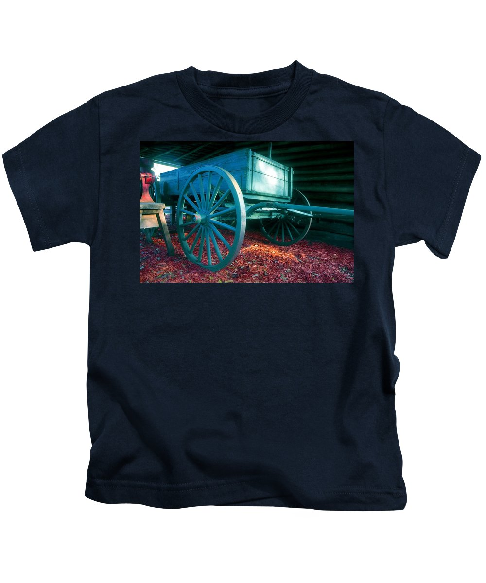 Blue Kids T-Shirt featuring the photograph Blue wagon by David Lee Thompson