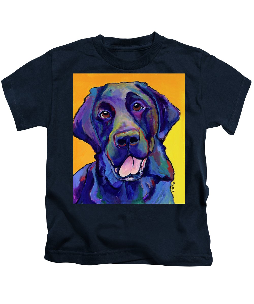 Labrador Rertrievers Kids T-Shirt featuring the painting Buddy by Pat Saunders-White