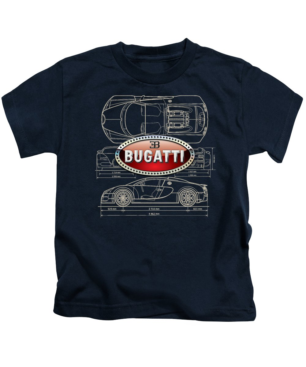 �wheels Of Fortune� By Serge Averbukh Kids T-Shirt featuring the photograph Bugatti 3 D Badge over Bugatti Veyron Grand Sport Blueprint by Serge Averbukh