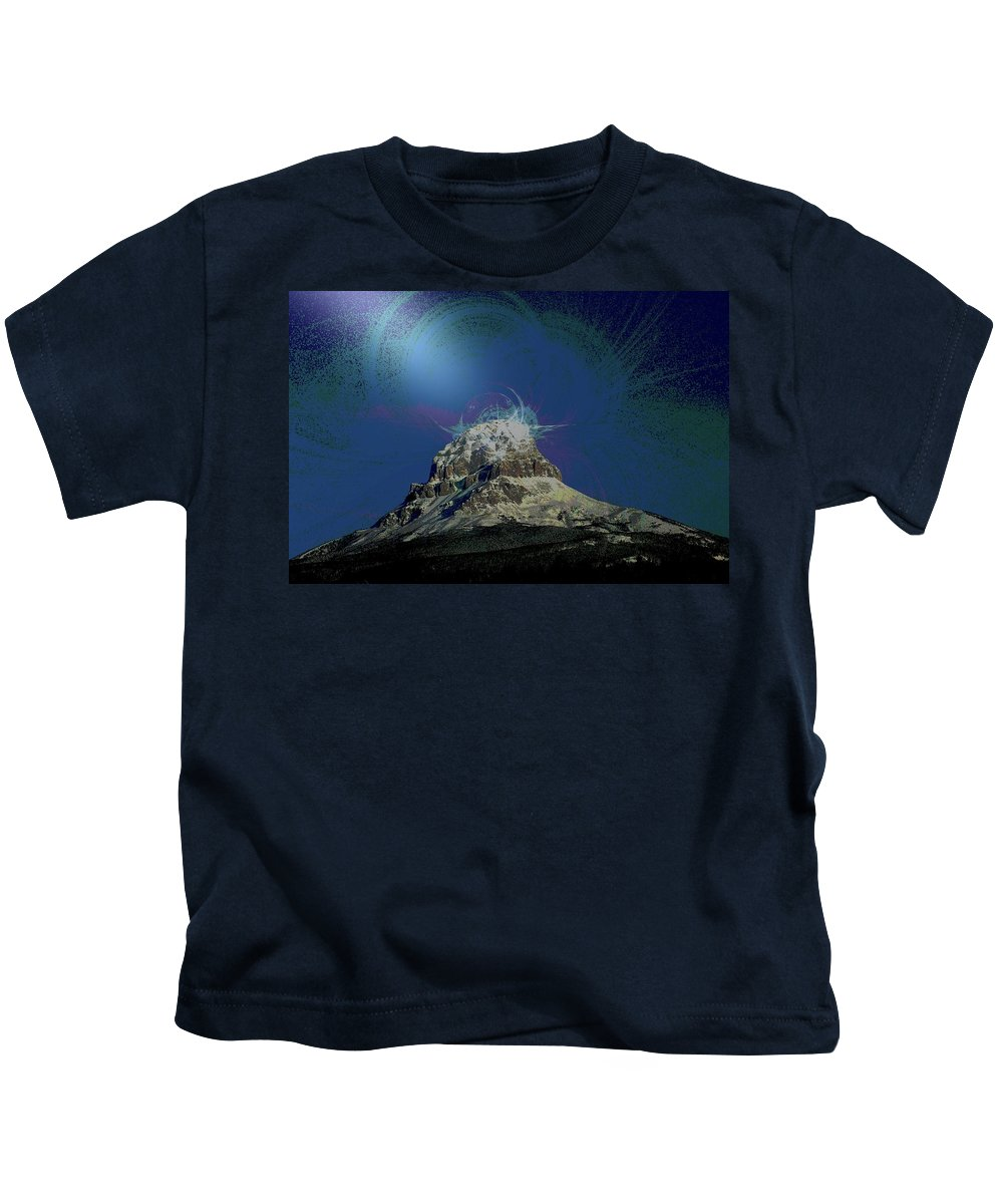 Abstract Kids T-Shirt featuring the photograph Crowsnest Mountain by Jeff Swan