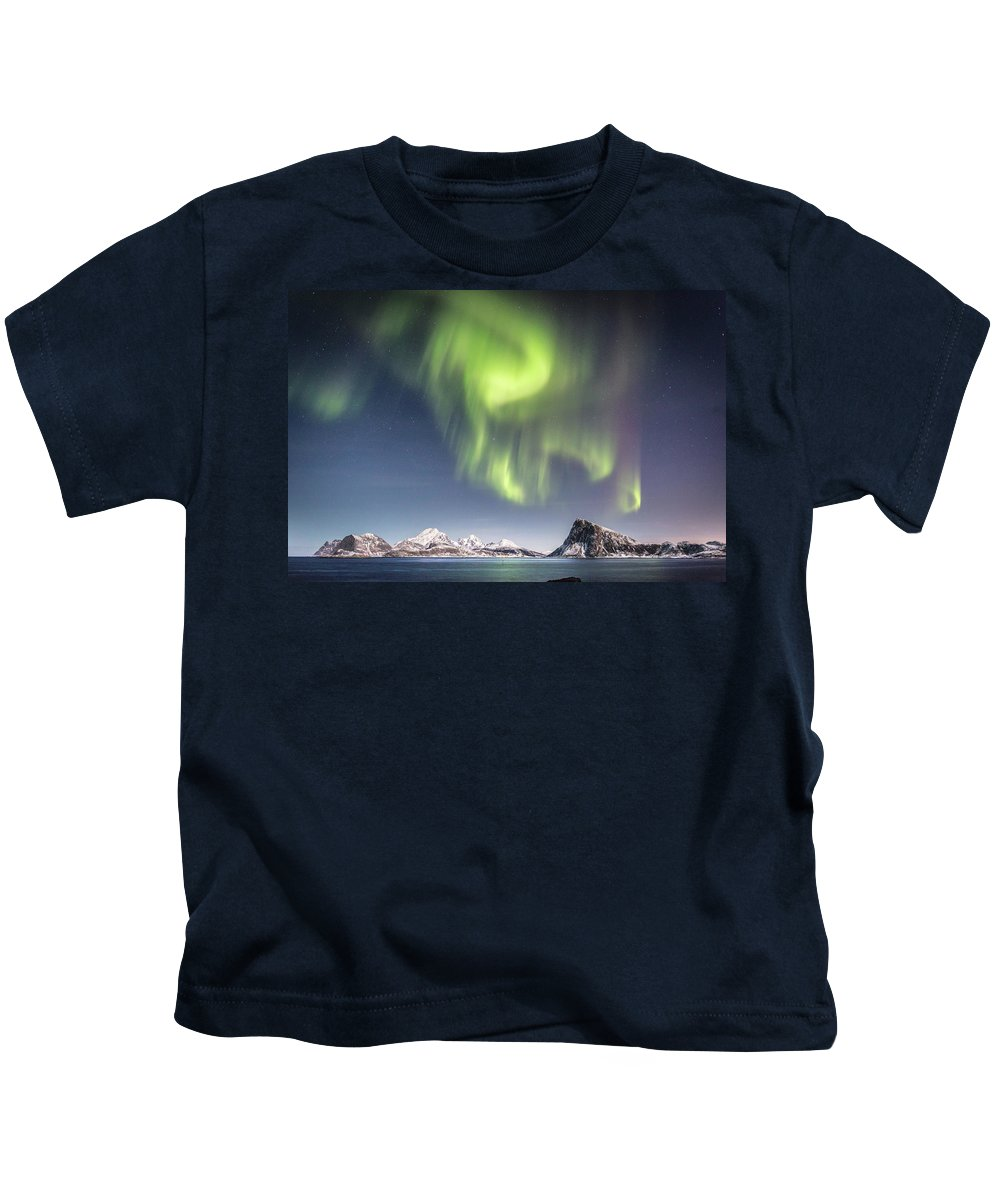 Aurora Kids T-Shirt featuring the photograph Curtains Of Light by Alex Conu