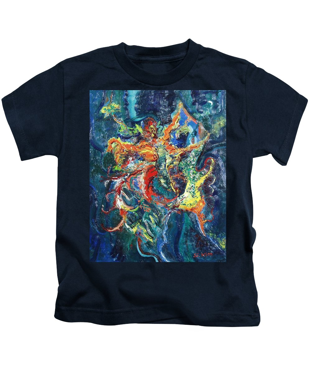 Butterfly Paintings Kids T-Shirt featuring the painting Dancing Butterflies by Seon-Jeong Kim