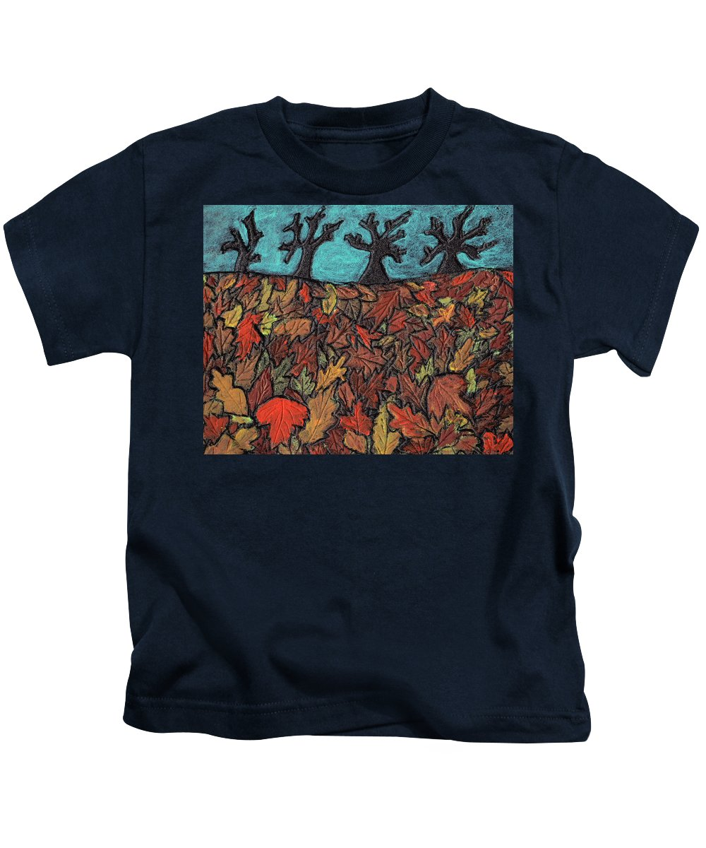 Leaves Kids T-Shirt featuring the painting Finding Autumn Leaves by Wayne Potrafka