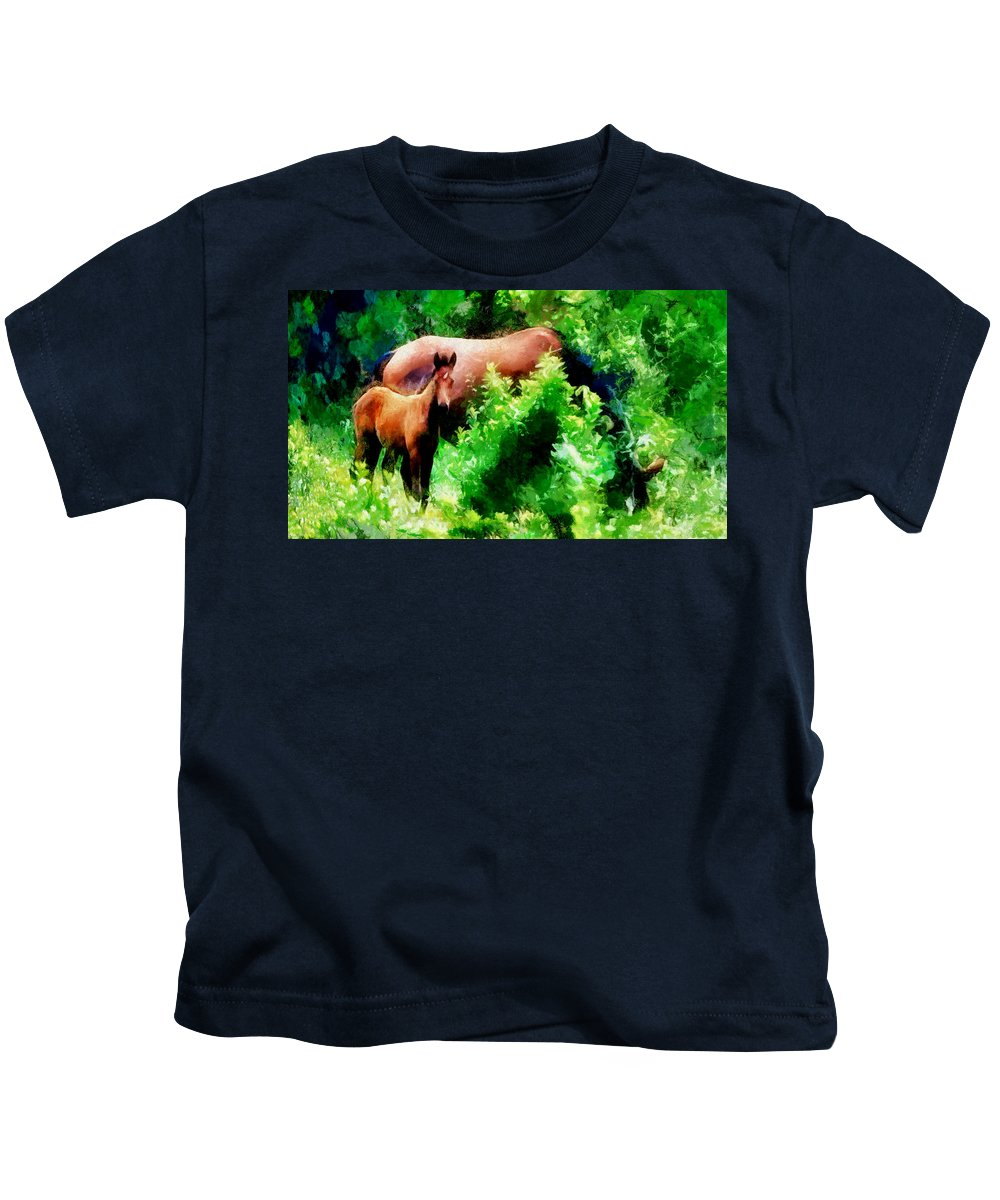 Horses Kids T-Shirt featuring the photograph Horse Family by Galeria Trompiz