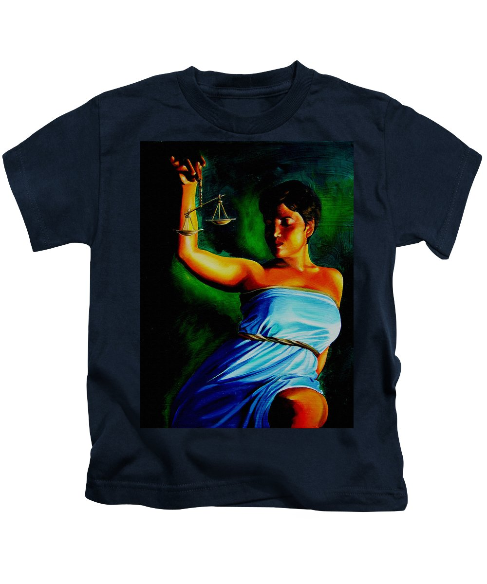 Law Art Kids T-Shirt featuring the painting Lady Justice by Laura Pierre-Louis