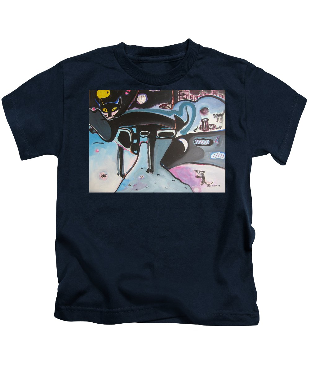 Cat Paintings Kids T-Shirt featuring the painting Let Me Out by Seon-Jeong Kim