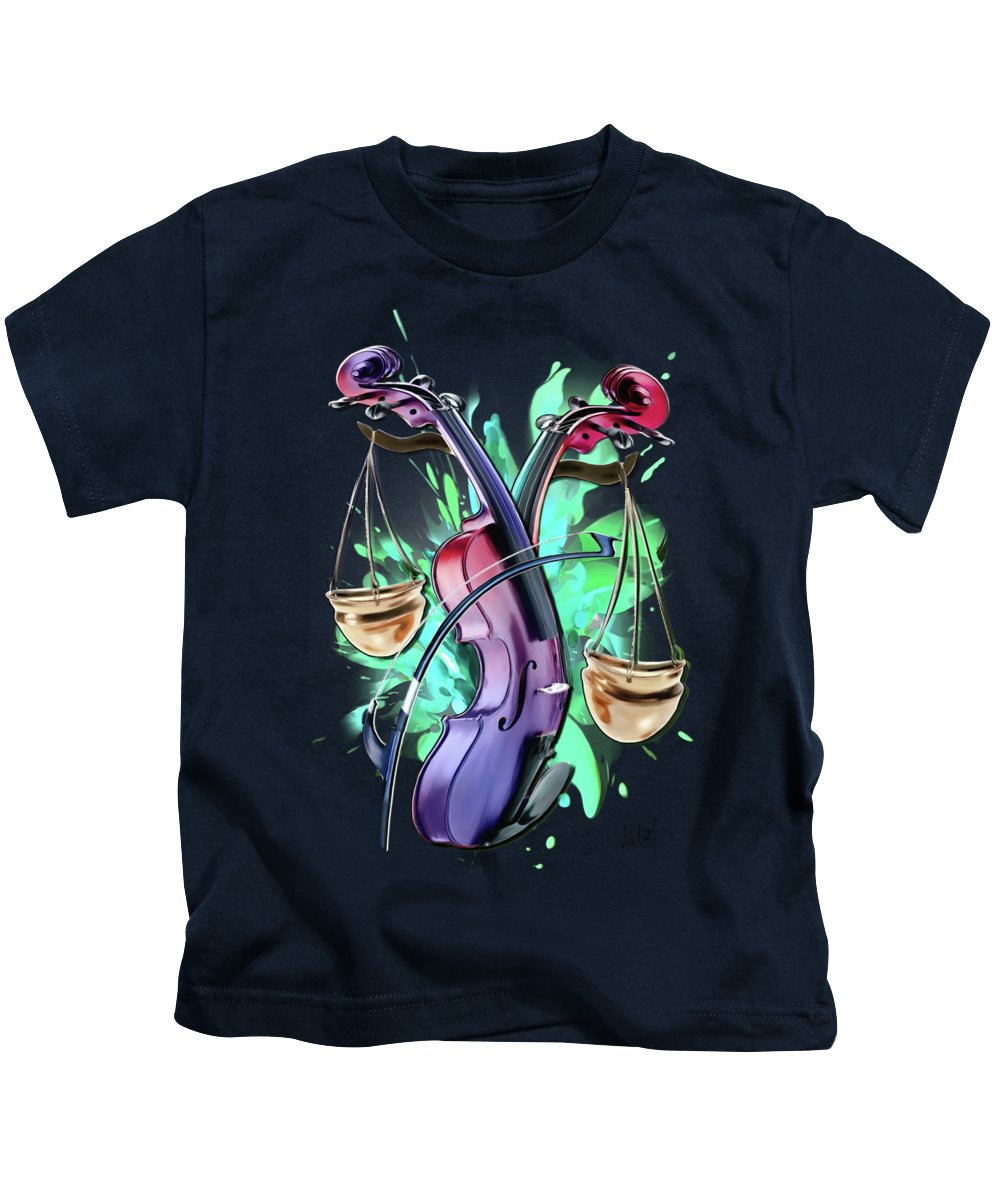 Libra Kids T-Shirt featuring the painting Libra by Melanie D