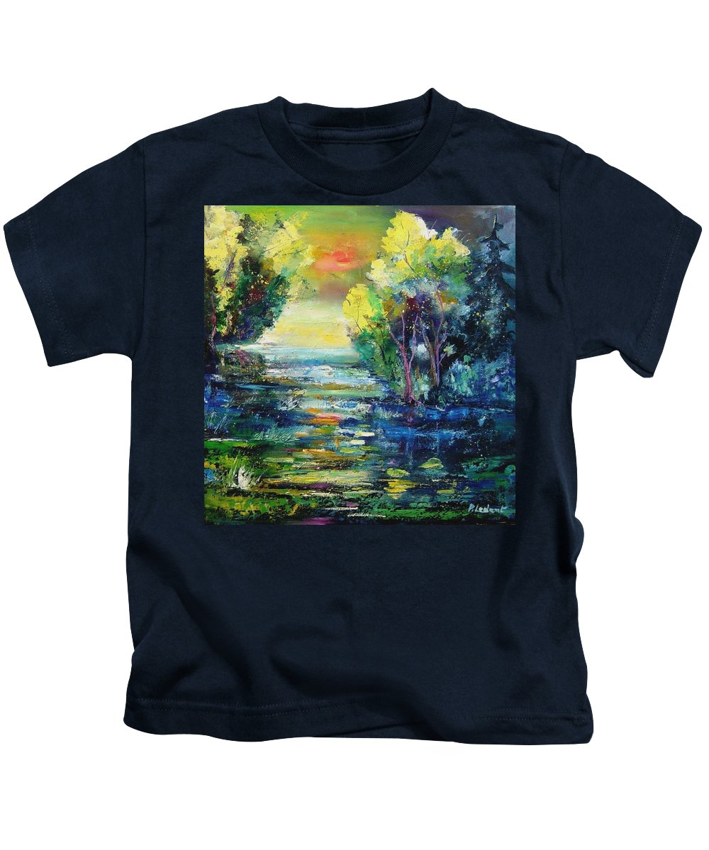 Pond Kids T-Shirt featuring the painting Magic Pond by Pol Ledent