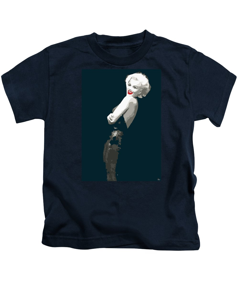 Marilyn Kids T-Shirt featuring the digital art Marilyn Monroe Happy by Quim Abella