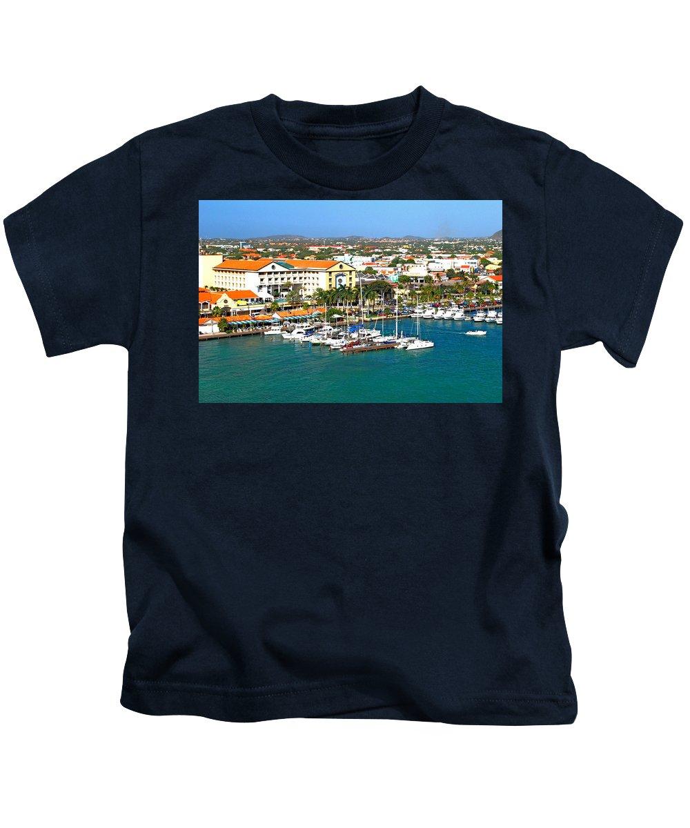Aruba Kids T-Shirt featuring the photograph Oranjestad Aruba by Gary Wonning