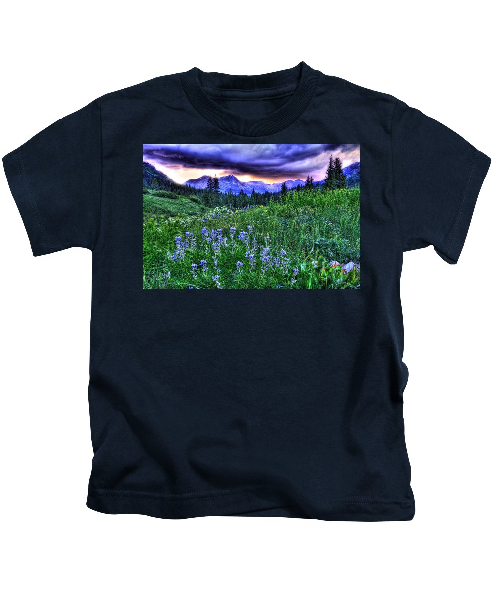 Colorado Kids T-Shirt featuring the photograph Purple Skies And Wildflowers by Scott Mahon