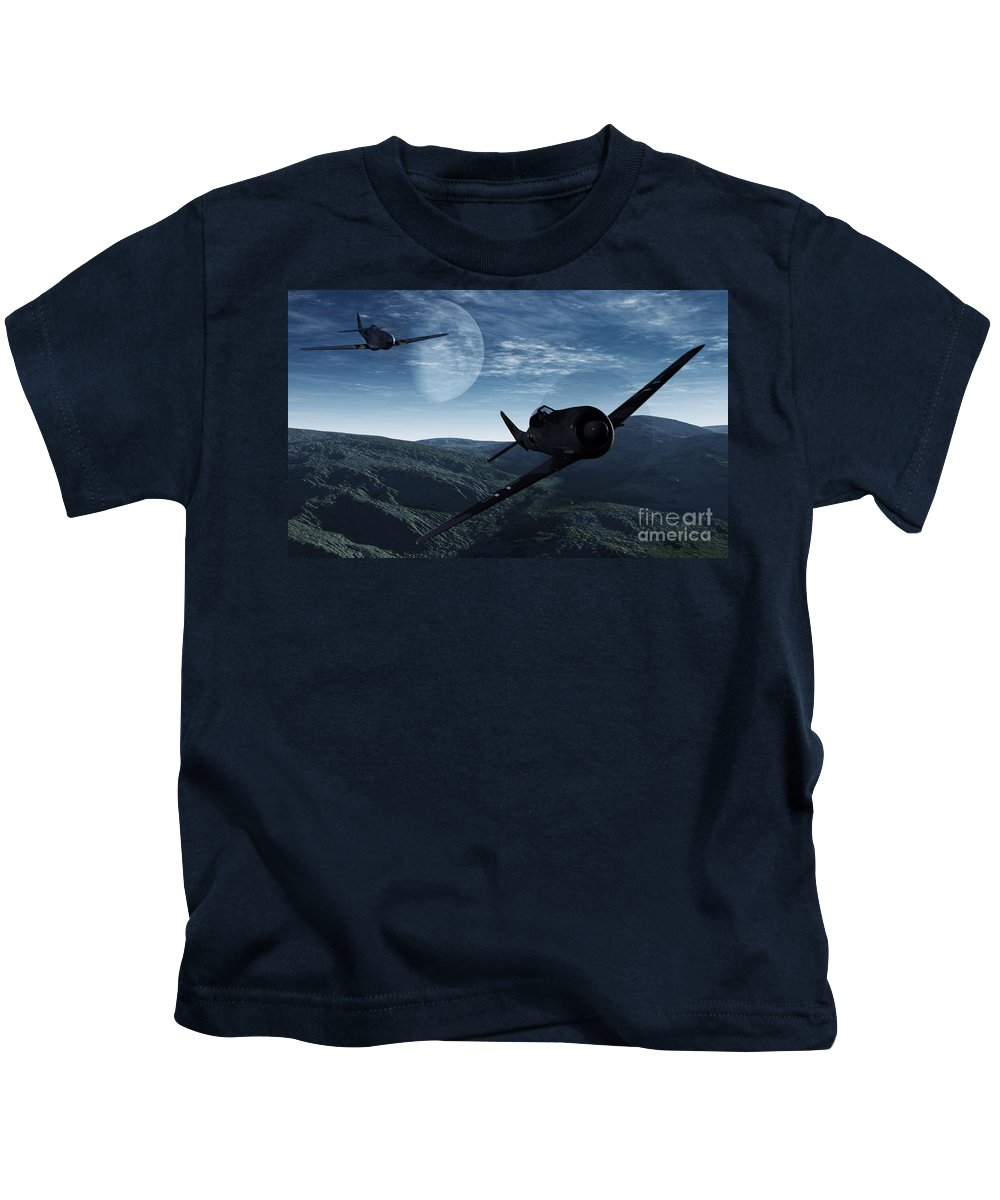 Dogfight Kids T-Shirt featuring the digital art Pursuit Of The Fox by Richard Rizzo