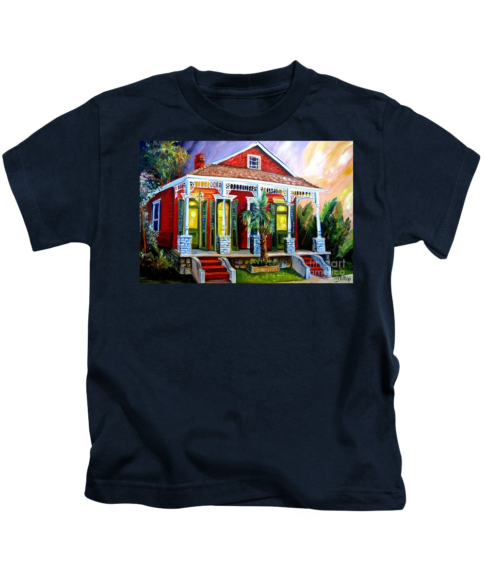 New Orleans Kids T-Shirt featuring the painting Red Shotgun House by Diane Millsap