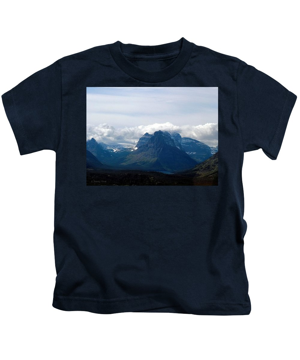 Rising Wolf Mountain Kids T-Shirt featuring the photograph Rising Wolf And Two Medicine Lake by Tracey Vivar