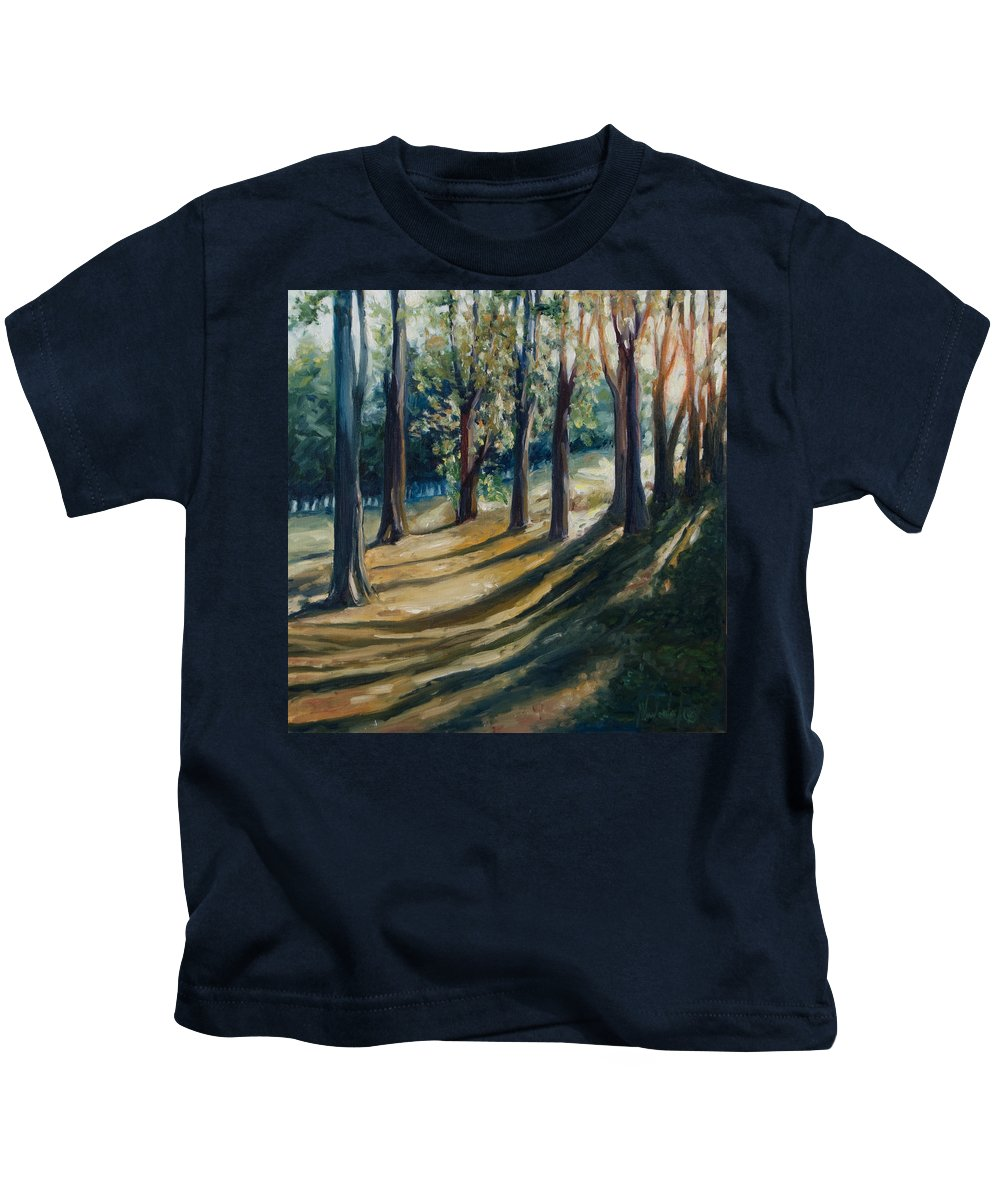 Trees Kids T-Shirt featuring the painting Shadows by Rick Nederlof