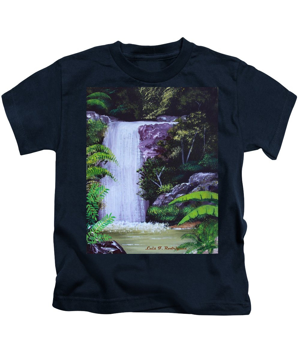 Tropical Kids T-Shirt featuring the painting Tropical Waterfall by Luis F Rodriguez