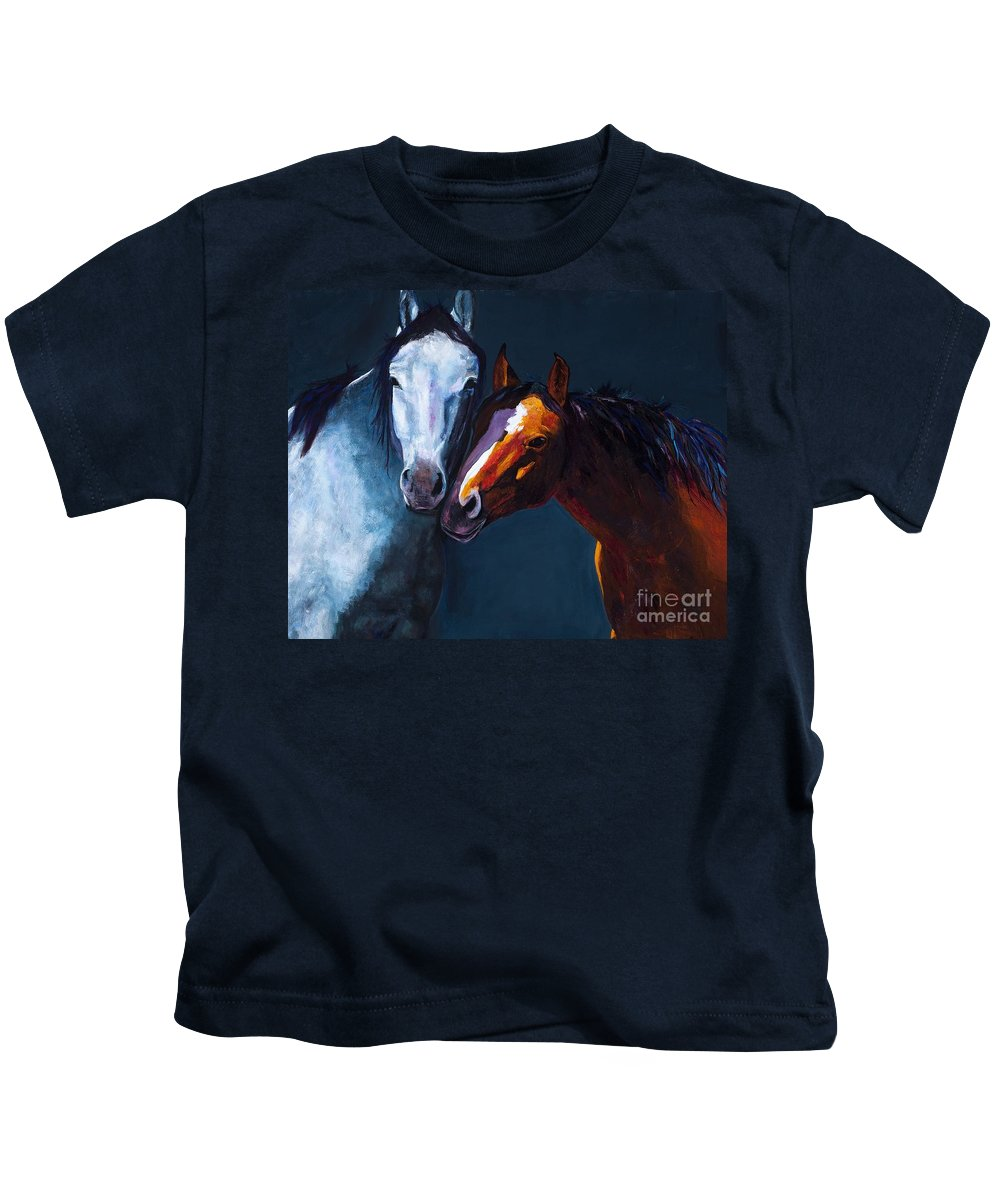 Horses Kids T-Shirt featuring the painting Unbridled Love by Frances Marino