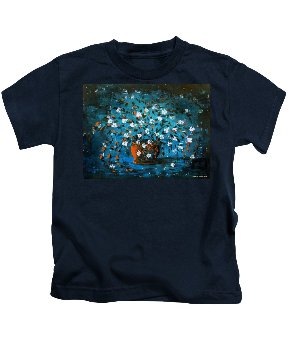 Flowers Kids T-Shirt featuring the painting White Flowers 3 by Gina De Gorna
