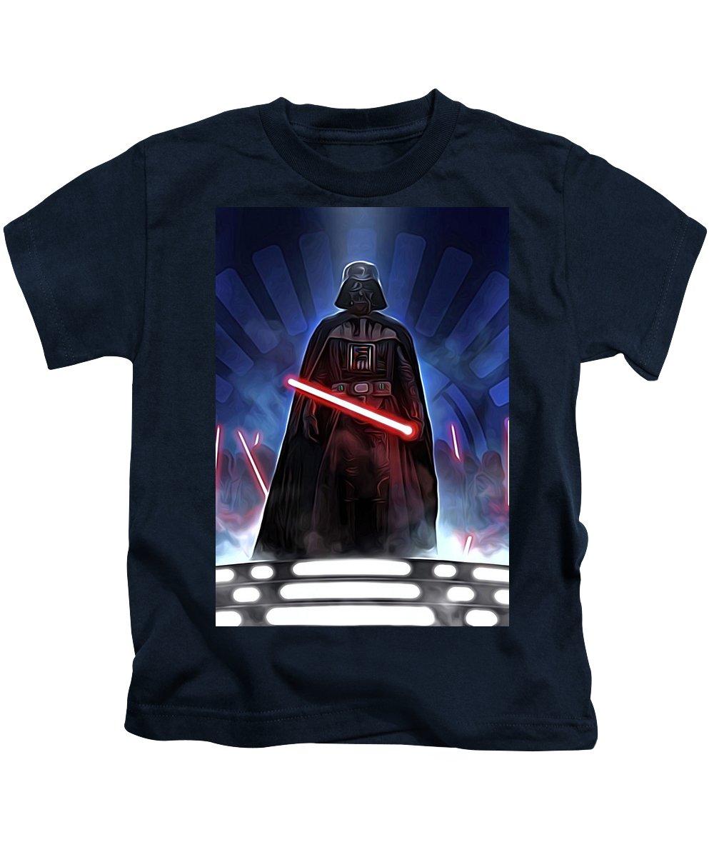 Star Wars Kids T-Shirt featuring the digital art Episode 1 Star Wars Poster by Larry Jones