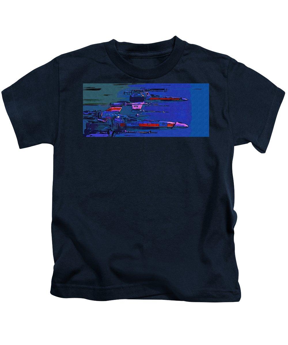 Star Wars Kids T-Shirt featuring the digital art Star Wars Episode 2 Poster by Larry Jones