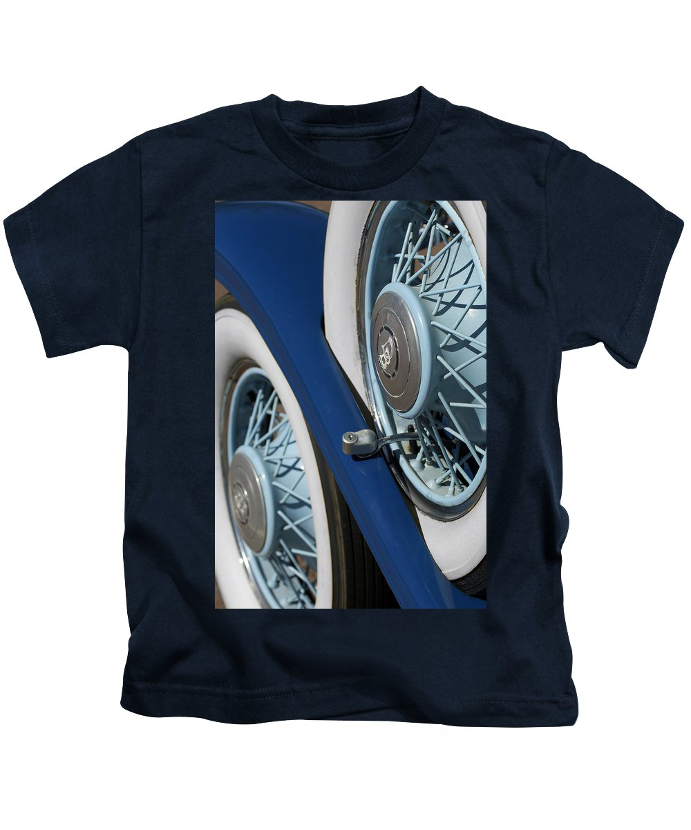 Car Kids T-Shirt featuring the photograph 1930 Db Dodge Spare Tire by Jill Reger